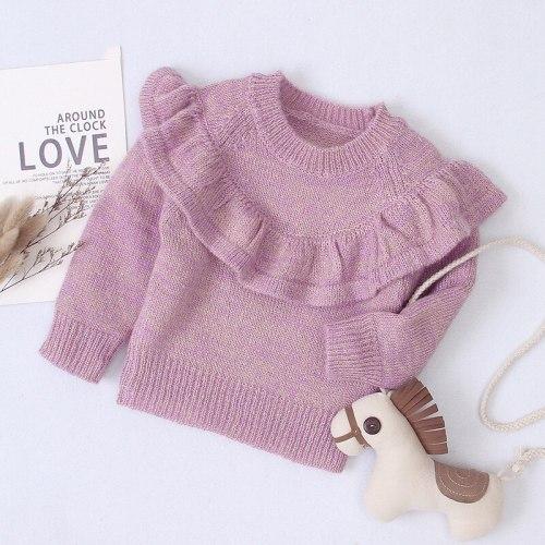 Children Clothing 2020 Autumn Winter New Baby Girls Sweater Long-sleeved Knitting Ruffle Coat Little Girls Casual Jacket