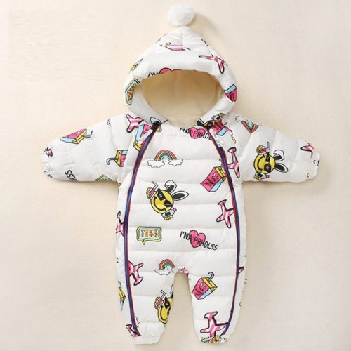 Newborn Rompers Hooded Plus Velvet Cartoon Graffiti Baby Snowsuit Toddler Boys Jumpsuit