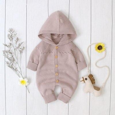 2020 Spring New Children Girls Hooded Knitted Jumpsuit Boys Buckle  Hat Suit Newborn Romper Children Clothing
