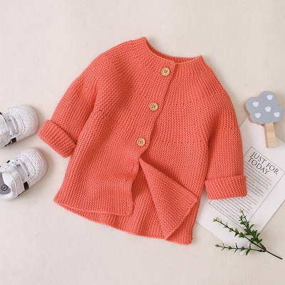 2020 Autumn New Baby Girls Knitting Sweater Jacket Little Girl Long-sleeved Single-breasted Outing Clothes
