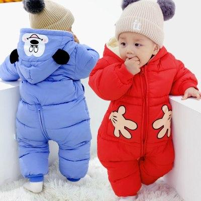 Autumn Winter Baby Rompers Cartoon Plus Velvet Newborn Jumpsuit Toddler Girl Overalls Snowsuit