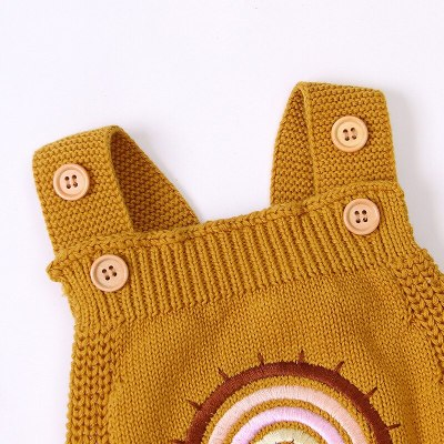 New Baby Rainbow Strap Knitted Jumpsuit Boys Triangle Romper