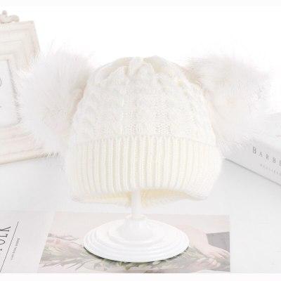 New Children Winter Hats Newborn Twist Kids Hats Baby Hats Knitting Double Woolen Furry Balls Warm Baby Girls Hats
