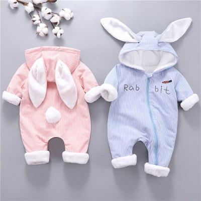 Bunny baby clothes Thicken warm Plus velvet Baby jumpsuit Newborn romper