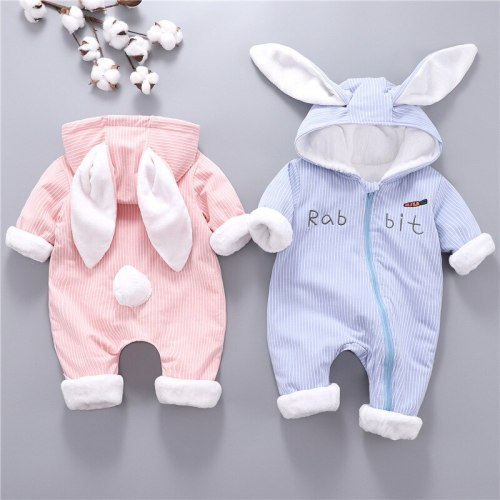 Bunny baby clothes Thicken warm Plus velvet Baby jumpsuit Newborn romper