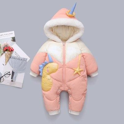 2020 Plus Velvet Winter Baby Girl Romper Cartoon Dinosaur Hooded Newborn Down Overall Coat