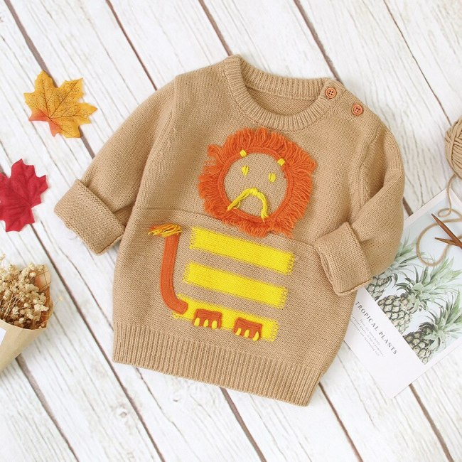 2020 Autumn Winter Children's Clothing New Kids Little Lion Long-sleeved Sweater Baby Cartoon Pullover Sweater
