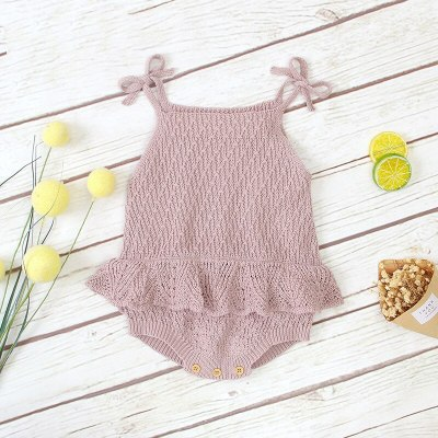 2020 New Baby Girls Clothing Knitted  Romper Cotton Solid  Children Girls Clothes Sling Ruffled Cute Romper