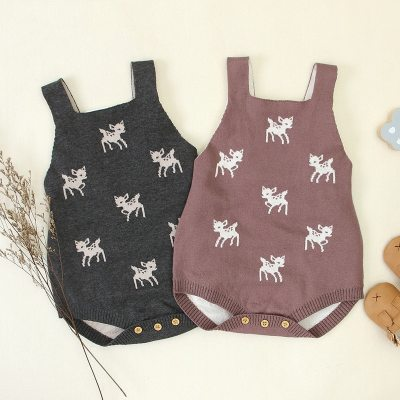 2020 New Baby Cartoon Deer Knitted Rompers Children Cute Clothing Boys Jumpsuit Girls Romper