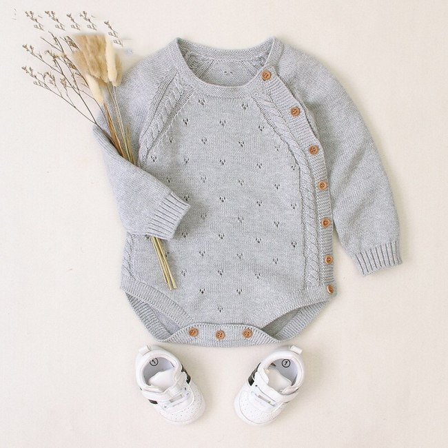 New Boys Clothing Cute Girls Rompers Solid Color Knitted Bag Fart Robe Rompers