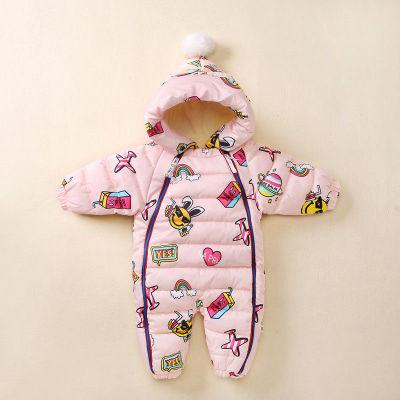 Newborn Rompers Hooded Plus Velvet Cartoon Graffiti Baby Snowsuit Toddler Boys Jumpsuit