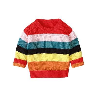 2020 Autumn Winter New Girls Long-sleeved Knitting Rainbow Striped Sweater Little Girls Round Neck Pullover Jackets