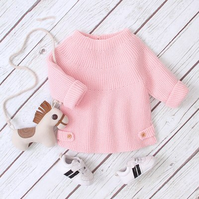 2020 Autumn New Baby Girl Pullover Knitted Sweater Little Girls Round Neck One Button Jacket