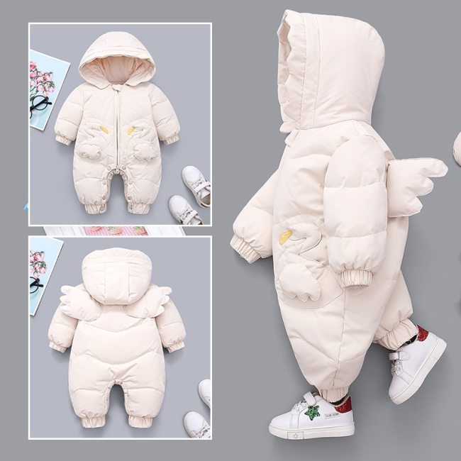 Winter Baby Girls Romper Hooded Angel Wings Newborn Snowsuit Plus Velvet Warm Jumpsuit