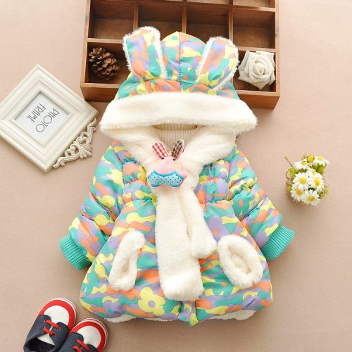 Cute Rabbit Baby Winter Jacket Thick Cotton-Padded Outerwear Baby  Snow Wear