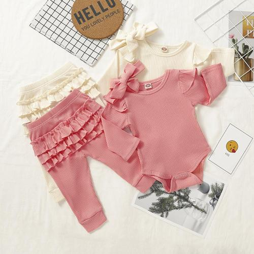 Autumn New Baby Girl Clothes Solid Long Sleeve Romper+ Pants + Bow 3 Pieces Set  Kids Clothes For Newborns