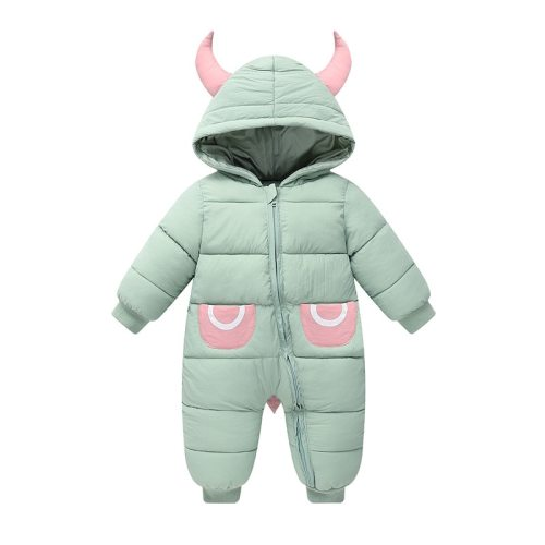 Winter Baby Romper Cartoon Horns Waterproof Baby Girl Snowsuit Newborn Jumpsuit