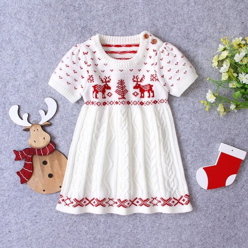 2020 Autumn New Baby Girls Christmas Elk Knitted Dress Little Girls Short Sleeved Cartoon Beige Casual Dresses