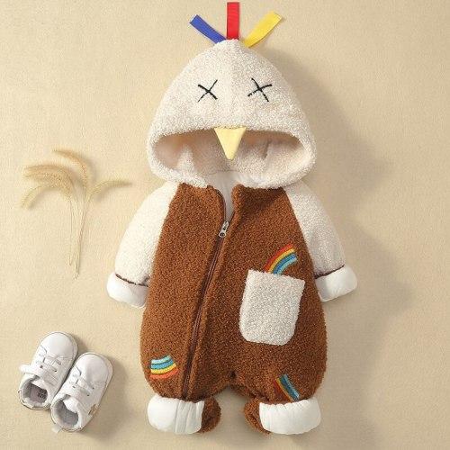 Newborn Baby Winter Hoodie Cotton Infant Baby Girls Outwear Rompers