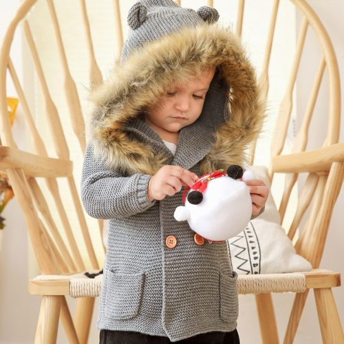 Children's Clothing 2020 Autumn New Boys Hooded Fur Collar Knitted Jacket Baby Girl Long-sleeved Casual Jacket