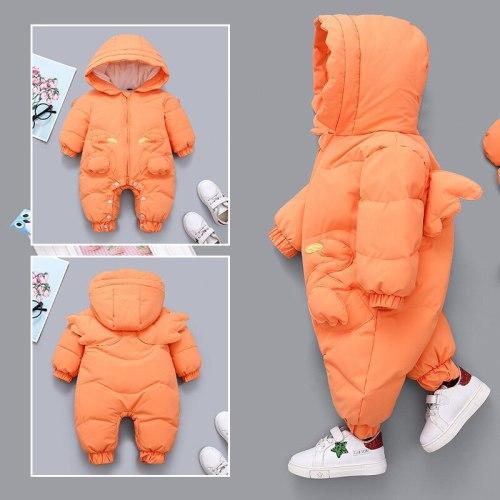 Winter Baby Girls Romper Hooded Angel Wings Newborn Snowsuit Plus Velvet Warm Jumpsuit