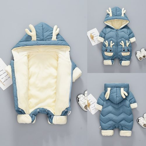 Baby Winter Snowsuit Plus Velvet Thick Baby Jumpsuit Newborn Romper