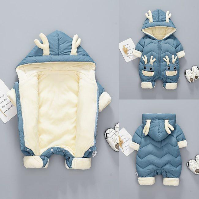 Baby Winter Snowsuit Plus Velvet Thick Baby Jumpsuit Newborn Romper