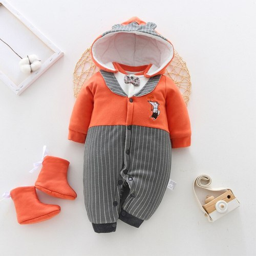 Newborn Baby Clothing  New Baby Thicken Romper Children's Romper Cotton Cartoons Stripe Kids Romper