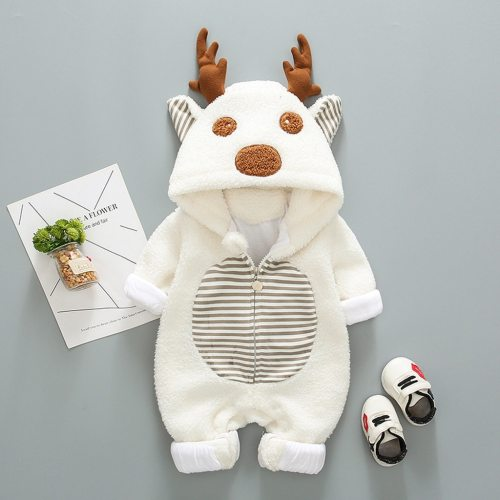 Newborn Baby Boy Girl Romper Fleece Cartoon Winter Warm Jumpsuit Hooded Coat Outwear