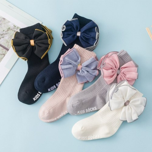 Baby Stockings Non-Slip Winter Baby Girls Socks Fabric Big Bow-Knot Girls Princess Socks Children's Socks