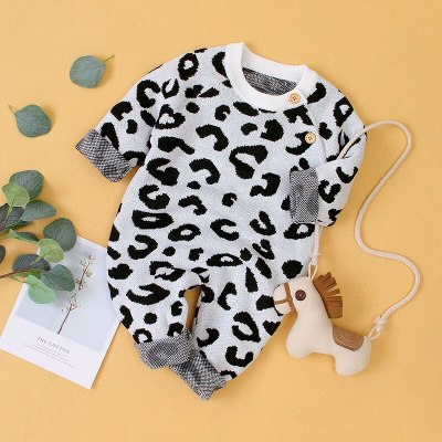 2020 Autumn New Baby Knitting Jumpsuit Children's Long-sleeved Leopard Printing Romper Kids Outing Casual Romper