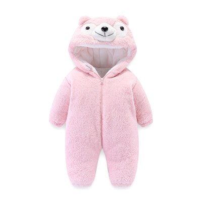 Newborn Baby Outing Clothing 2020 Autumn Winter New Cartoon Baby Romper Kids Flannel Hood Thickened Romper