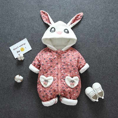 Baby Floral Rabbit Rompers Newborn  Padded Cotton Kids Long-sleeved Rompers