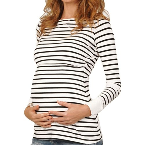 Maternity Tshirt Women Mom Pregnant Nursing Baby Long Sleeved Stripe Tops Maternidad Ropa Lactancia Breastfeeding T Shirt
