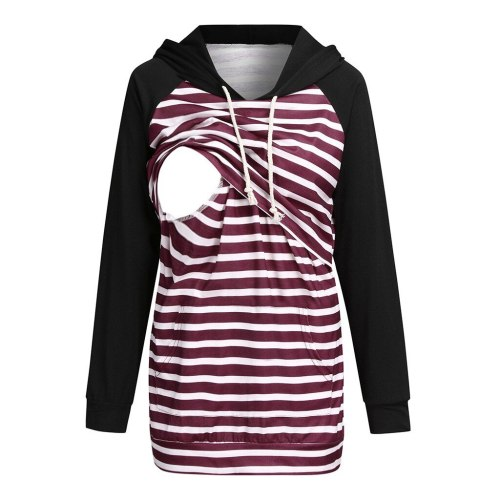 Stripe Nursing Hoodies Maternity Long Sleeve Hooded Pullover Sweatshirt For Breastfeeding Lactancia Invierno Pregnancy Hoodie