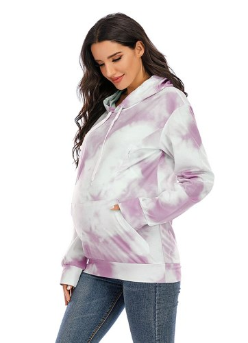 Autumn Hooded Tie-dyed Sweater Nursing Pregnant Women Loose Top Maternity Breastfeeding Hoodie  Pregnancy Clothes