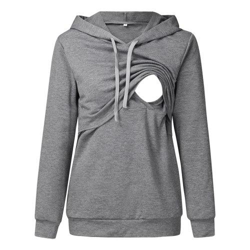 Hoodies Maternity Long Sleeve Hooded Nursing Tops Casual Solid Breastfeeding Pullover Sweatshirt