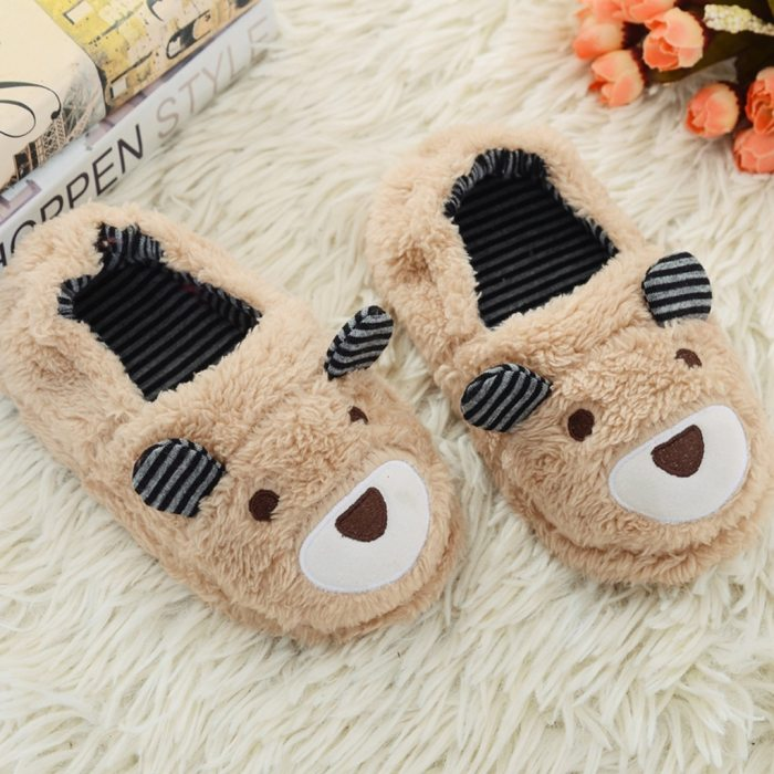 Toddler Infant Warm Baby Slippers  Shoes Boys Girls Cartoon Soft-Soled Slippers Kids Fur Slides Slippers