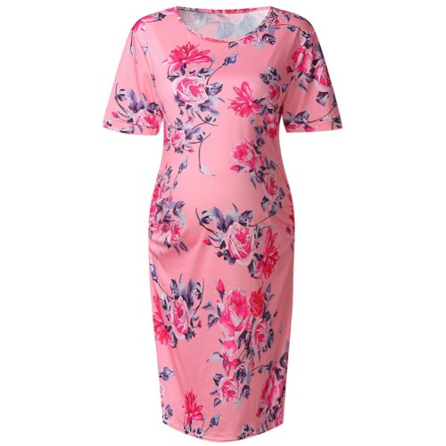 Print Round Neck Short Sleeve Slim Fit Dress Robe Casual Maternity Dresses