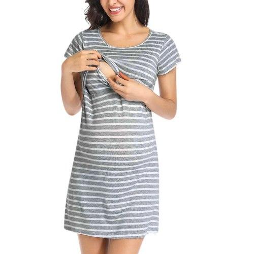 Striped Maternity Dresses Short Sleeve Nursing Dress For Breastfeeding Dress