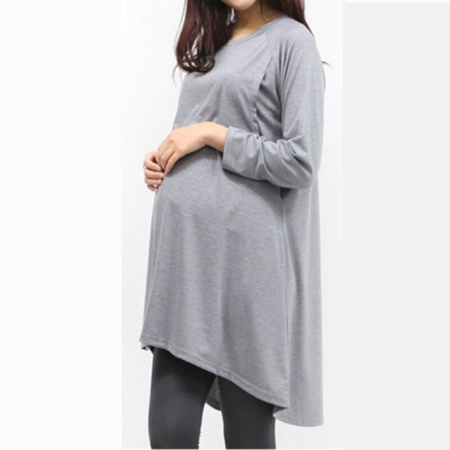 Maternity Tops Breastfeeding Clothes Dress Autumn Upper Garment Pullover Long Sleeve Lactation Nurse Code Nursing Top