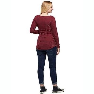 Maternity Tops Flattering Side Ruching Pregnancy T-Shirt Camiseta Lactancia Long Sleeve O-Neck Breastfeeding Nursing Shirt