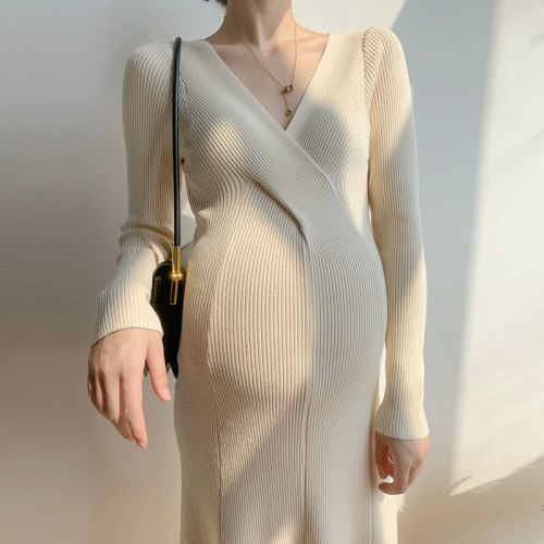 Maternity Dress Warm Autumn Winter Knitted Sweater Dress Clothes for Pregnant Women Fall Elegant Pregnancy Sweaters Dress