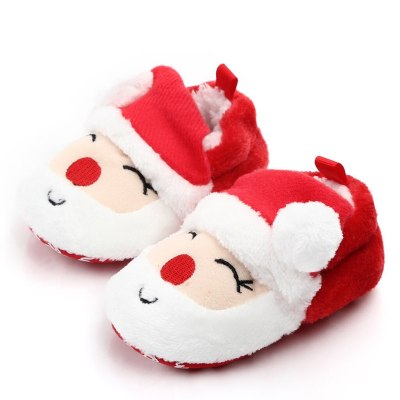 Christmas First Walkers Baby Girl Boys Shoes Comfortable Mixed Colors Flock Slip-On Kid Shoes