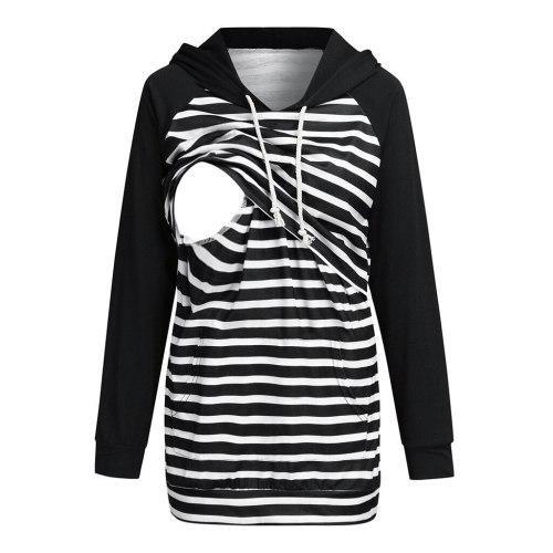 Stripe Nursing Hoodies Maternity Long Sleeve Hooded Pullover Sweatshirt For Breastfeeding Lactancia Invierno Pregnancy Hoodie
