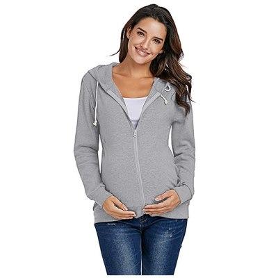 Zipper Nursing Hoodie Women's Maternity Breastfeeding Sweatshirt