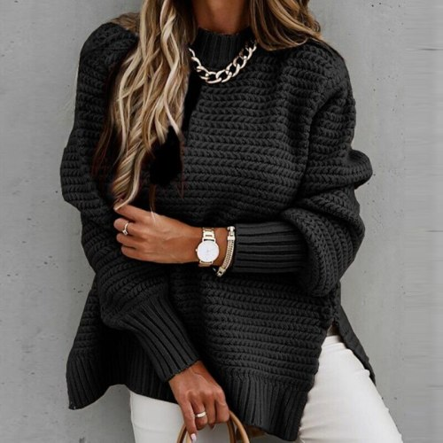 Women Solid Ribbed Knit Sweater Fashion Elegant O Neck Lantern Long Sleeve Pullover Tops Ladies Winter Casual Loose Slit Jumper