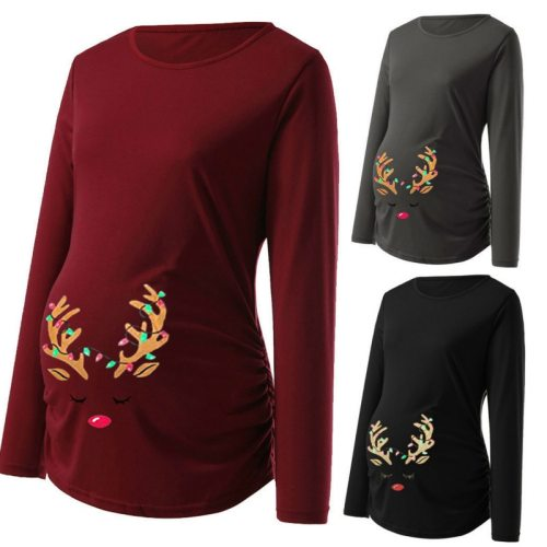 Winter Maternity Womens Print Christmas Side Ruched Long Sleeve Santa Moose T-Shirt Tops Nursing Breastfeeding Pregnancy Clothes