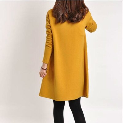 Autumn New Maternity Dresses Casual Large Size Pregnancy Dress Solid Color V-neck Loose Pregnant Women Dress