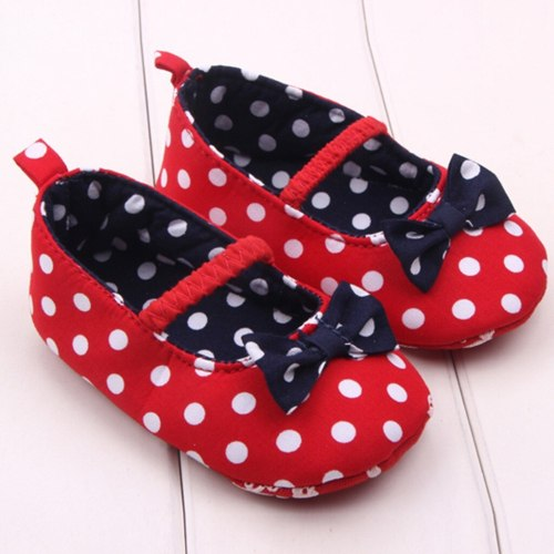 Dot Bowknot Baby First Walker Shoes Newborn Girls Anti-slip First Walkers Shoes